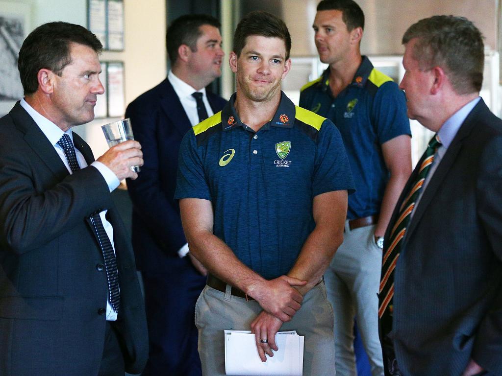 Mark Taylor with current Australian test captain Tim Paine.