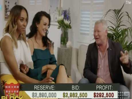 Bianca Chatfield and Carla Dziwoki with Scott Cam during the auction. Picture: The Block/Nine Network