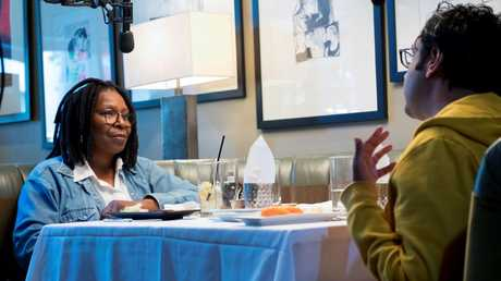 American Indian comedian Hari Kondabalu talks with Whoopi Goldberg for his film The Problem with Apu.