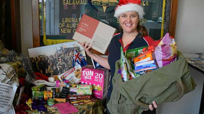 Christmas Care Packs for the Troops organiser Tam Geritz at the donation collection point at the Maryborough RSL.