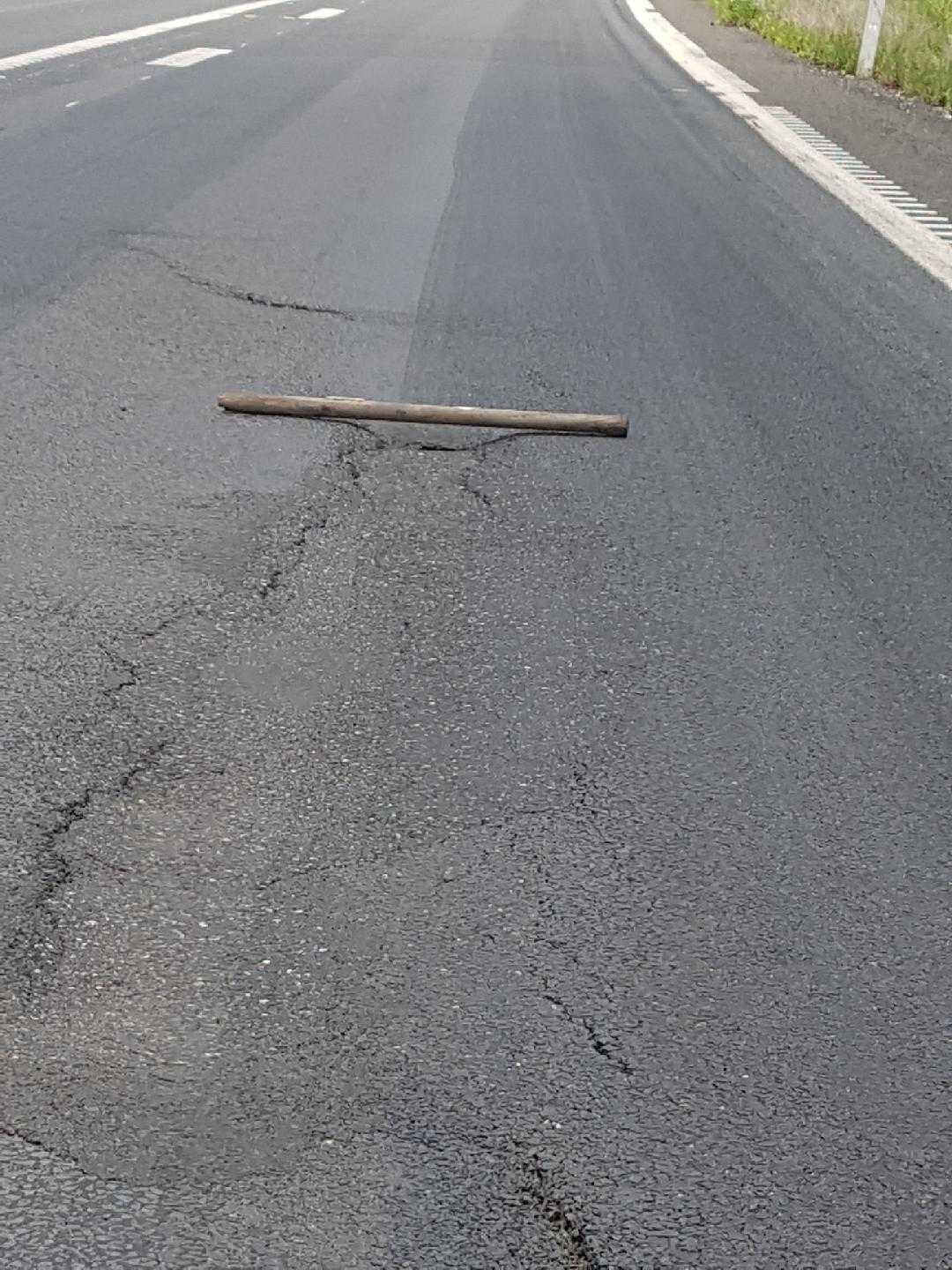 ROAD DEFECT: The defect in the road was identified by the TMR inspector yesterday.