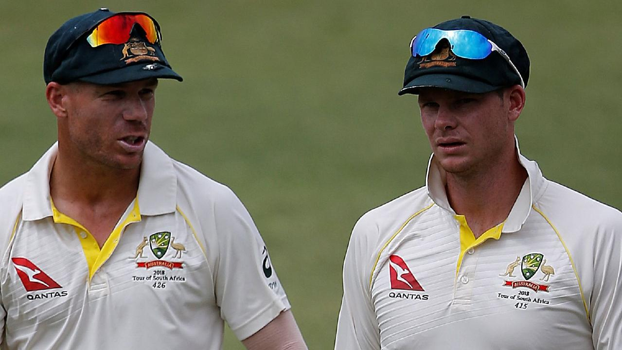 David Warner (left) and Steve Smith are only allowed to play grade cricket under the terms of their 12 month bans. Picture: AFP