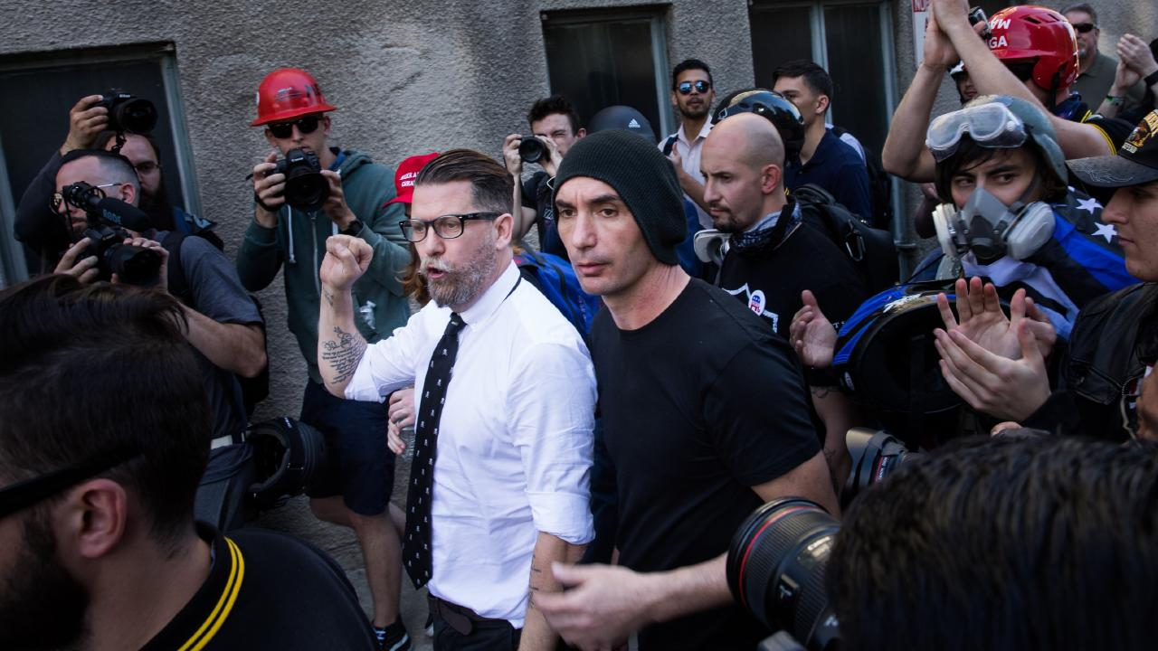 Gavin McInnes, who has described The Proud Boys as a 'gang', has encouraged members to use violence against 'enemies'. Picture: Philip Pacheco/Anadolu Agency/Getty Images