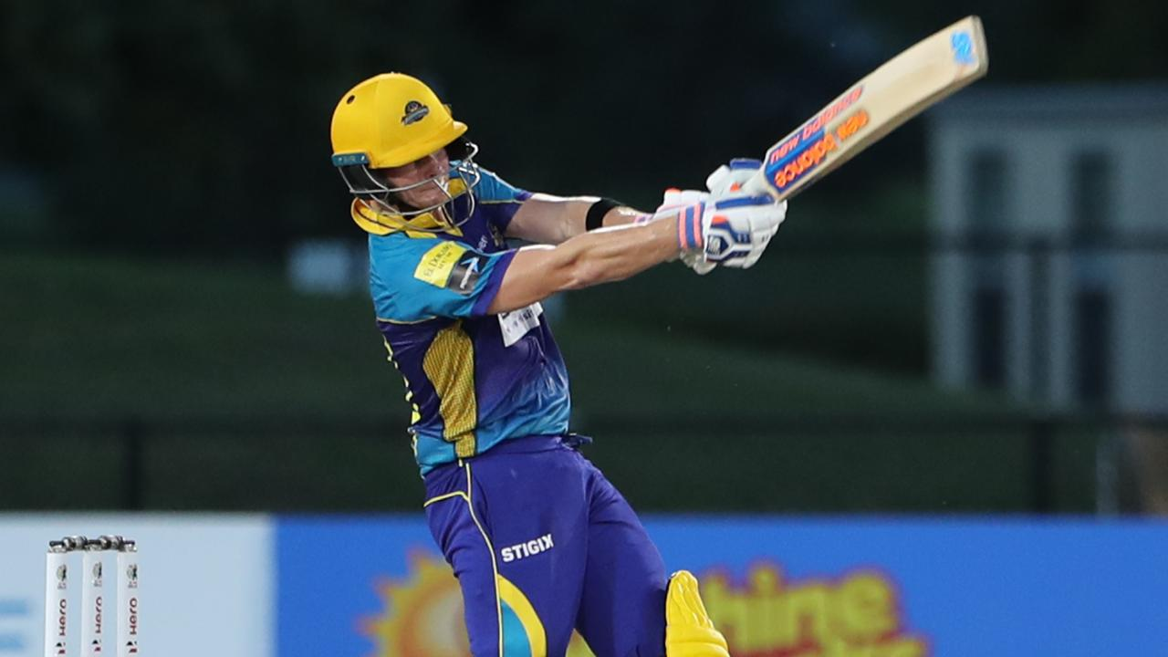 Steve Smith belts a six for the Barbados Tridents against the Jamaica Tallawahs in Fort Lauderdale, Florida in August. Picture: Getty Images