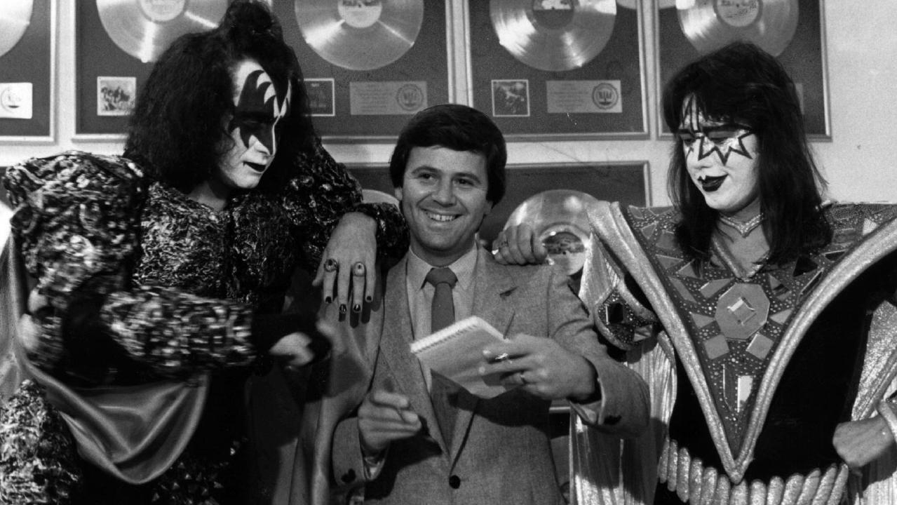 Gene Simmons and Ace Frehley with Ray Martin on an Australian tour in 1980. Picture: Supplied