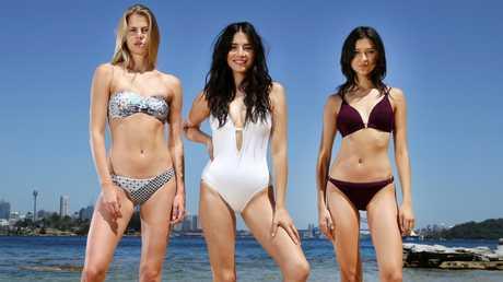 Jessica Gomes with models Linda Rosenberg and Ella Verberne. Picture: Jonathan Ng