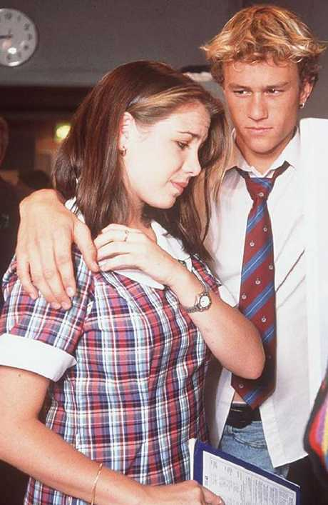 A teenage Ritchie in a scene from Home And Away with co-star Heath Ledger