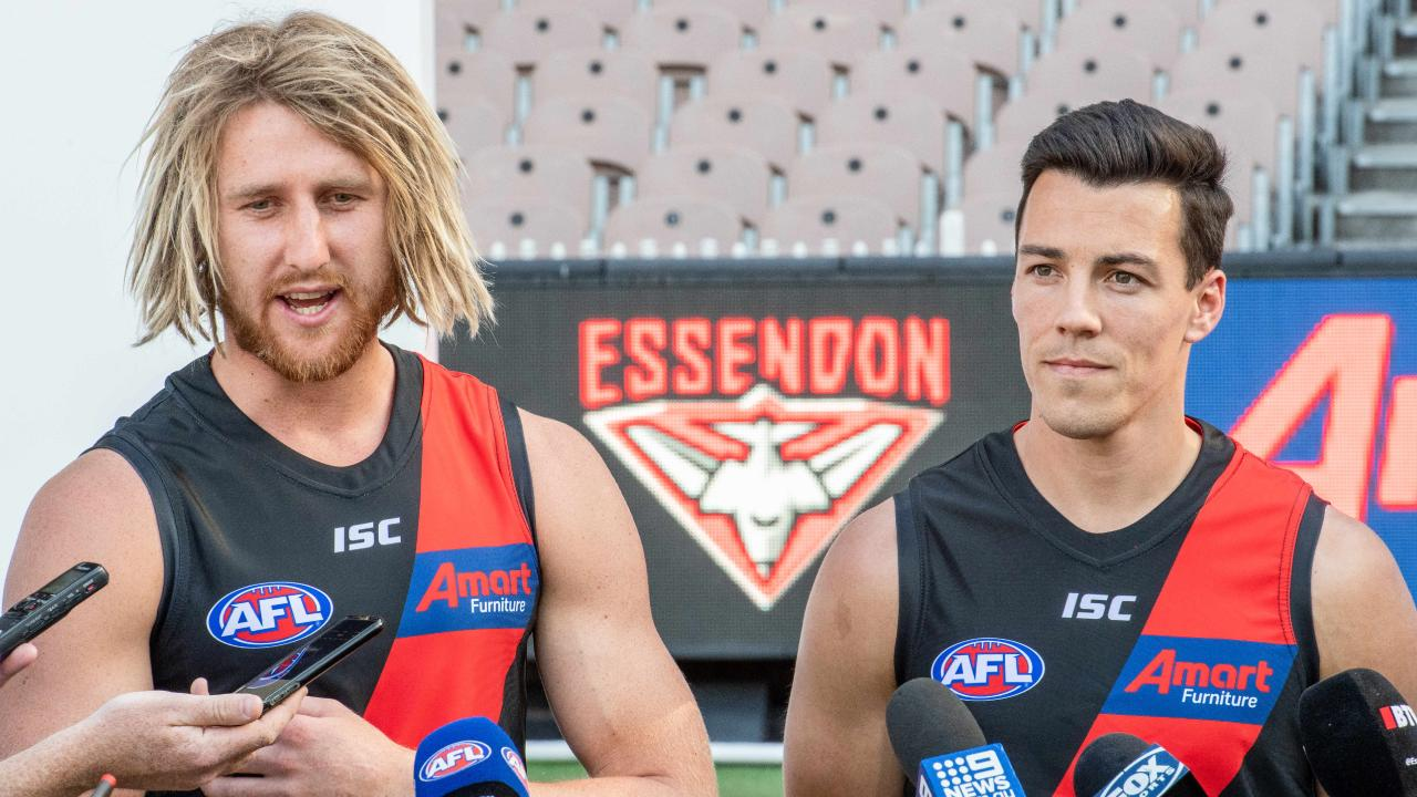Shiel helped captain Dyson Heppell launch the new partnership with Amart. Picture: Jason Edwards
