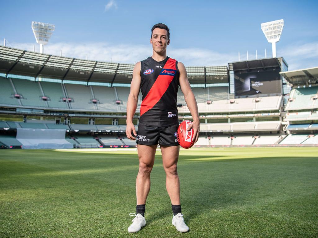 Dylan Shiel looks right at home wearing Essendon colours in the middle of the MCG. Picture: Jason Edwards
