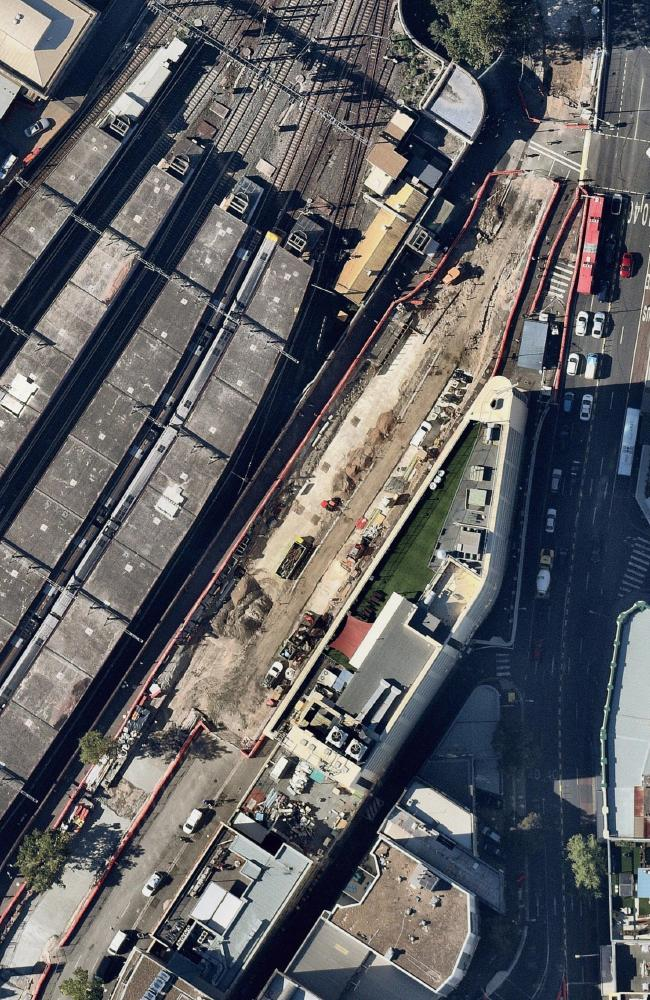 The bones were found on Chalmers St, running adjacent to Central Station. Picture: Nearmap