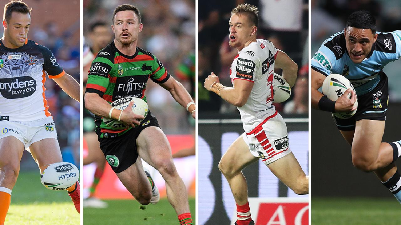 (l-r) Wests Tigers' Luke Brooks, South Sydney's Damien Cook, St George Illwarra's Matt Dufty and Cronulla's Val Holmes could all be up for grabs.