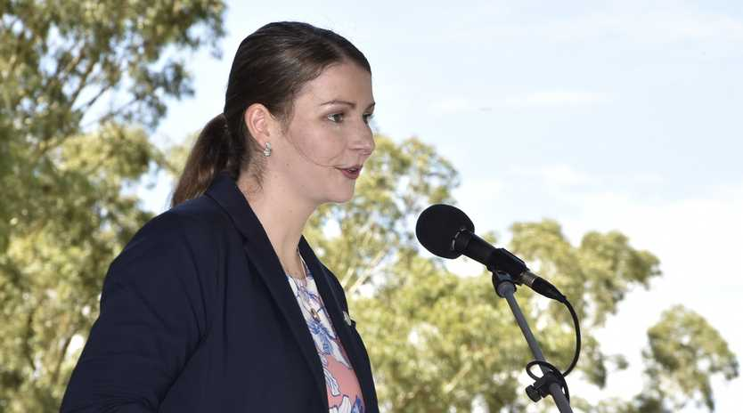 Sophie Ryan speaking at Australia Day Celebrations in 2017. She had just won the Young Citizen of the Year award.