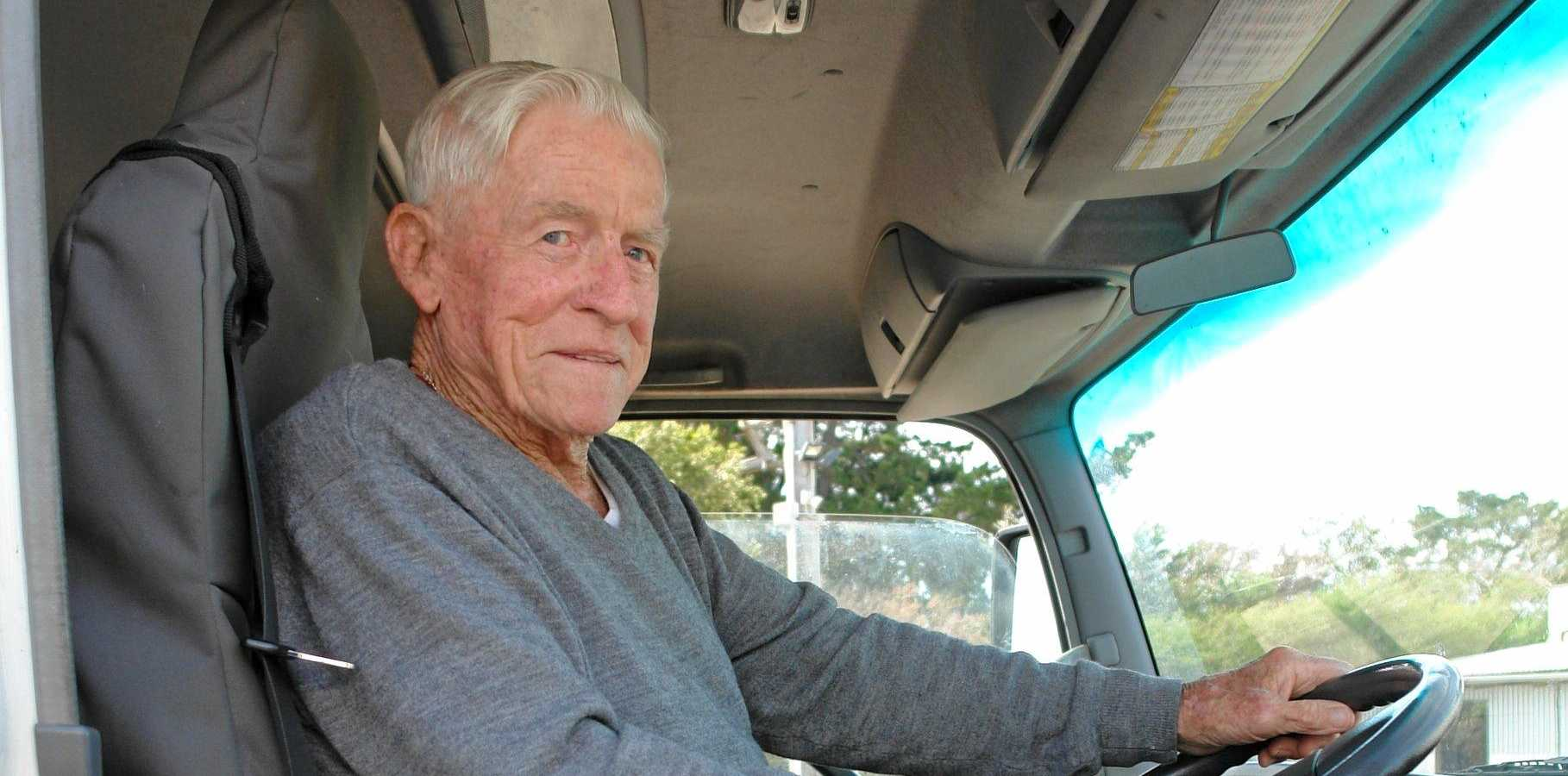 WHAT A LEGEND: Peter Ward, 95, has hardly missed a day's work in more than 20 years driving his trusty Isuzu.