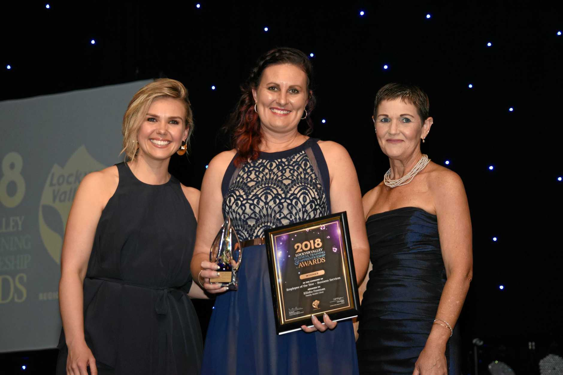 Employee of the year Ellisha Freeman (centre) with host Edwina Bartholomew and LVRC mayor Tanya Milligan, at the 2018 Lockyer Valley Business, Training and Apprenticeship Awards, Saturday, October 20, 2018.
