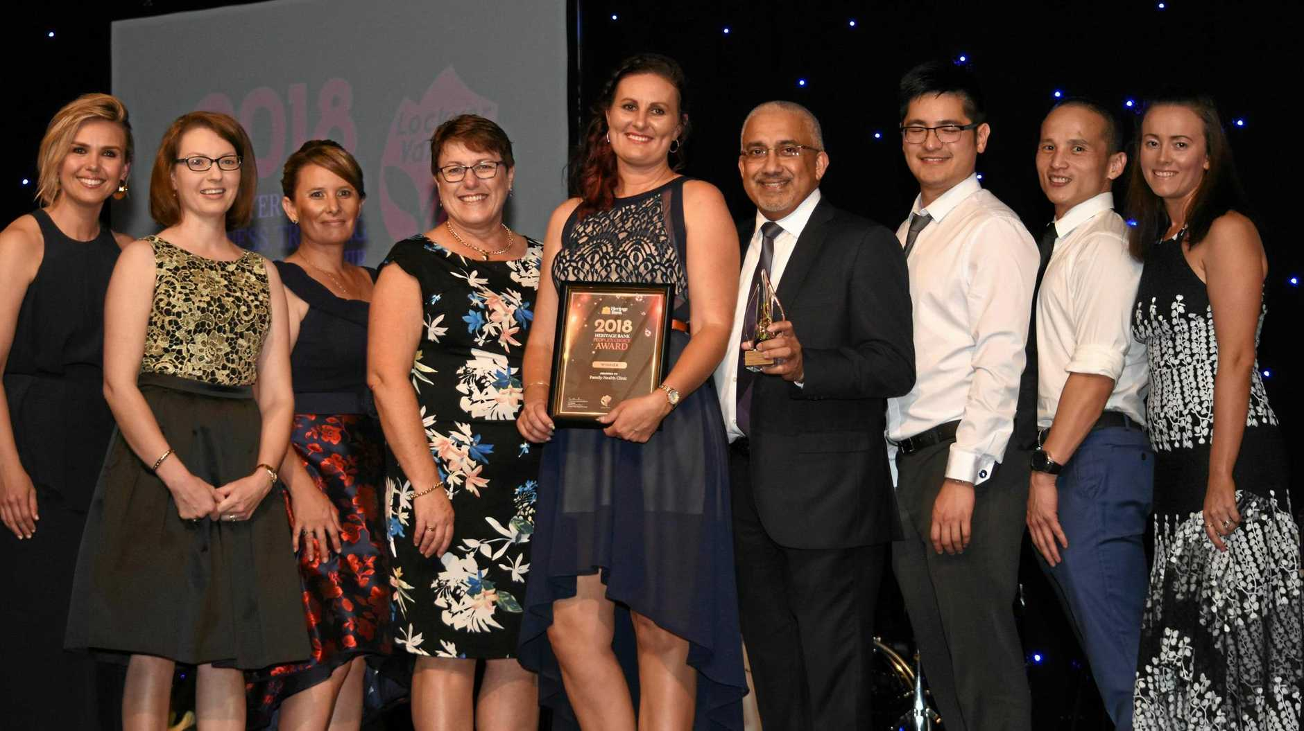 YOUR PIC: Heritage Bank People's Choice Award winners Family Health Clinic, with Edwina Bartholomew (left) and Mayor Tanya Milligan (right).