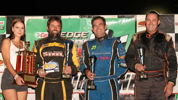 LISMORE SPEEDWAY: V8 dirt modified NSW title winners on Australia Day 2018. From left: Jai Stephenson (first), Andrew Pezzutti (second), Jeff Phillips (third).