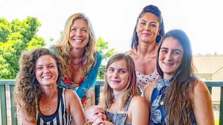RE_UNION: Founding members of the Chrysalis Girls Program: Front row: Jess Mulray, Zandalai Thompson with 6 week old Onyx, Maddison King and at back Amie Dryer and Emily Moses.
