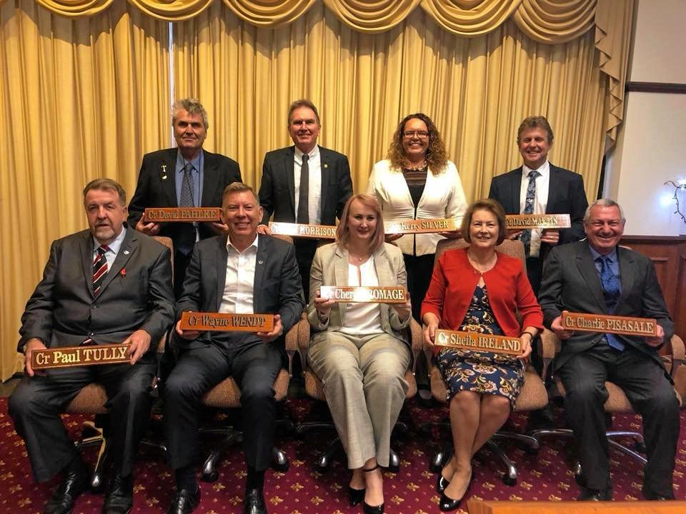 Ipswich councillors on the day of their last meeting before the dismissal. David Morrison, Paul Tully, Kylie Stoneman, Kerry Silver, Wayne Wendt, Cheryl Bromage,  David Martin, Charlie Pisasale, Sheila Ireland and David Pahlke.