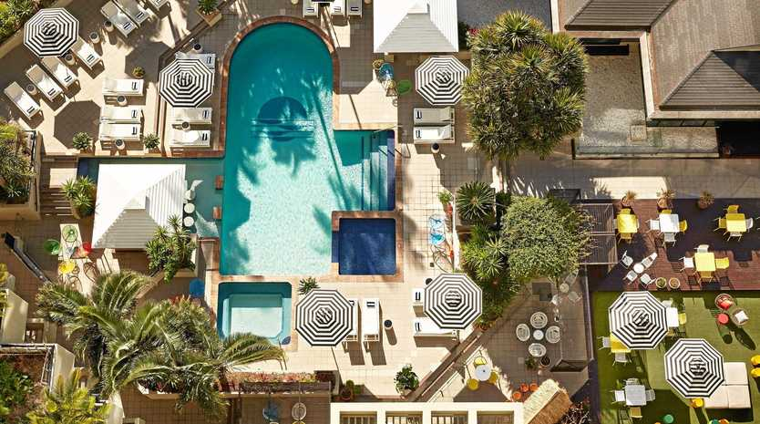 The QT Hotel swimming pool from above.
