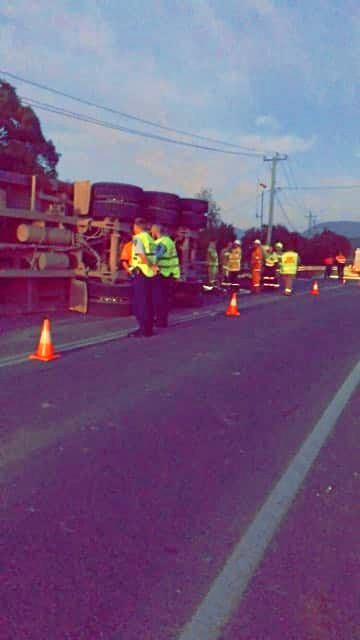 Muwillumbah Rural Fire Brigade have responded to an accident where a Semi trailer had collided with the guard rail of the Kynnumboon bridge.