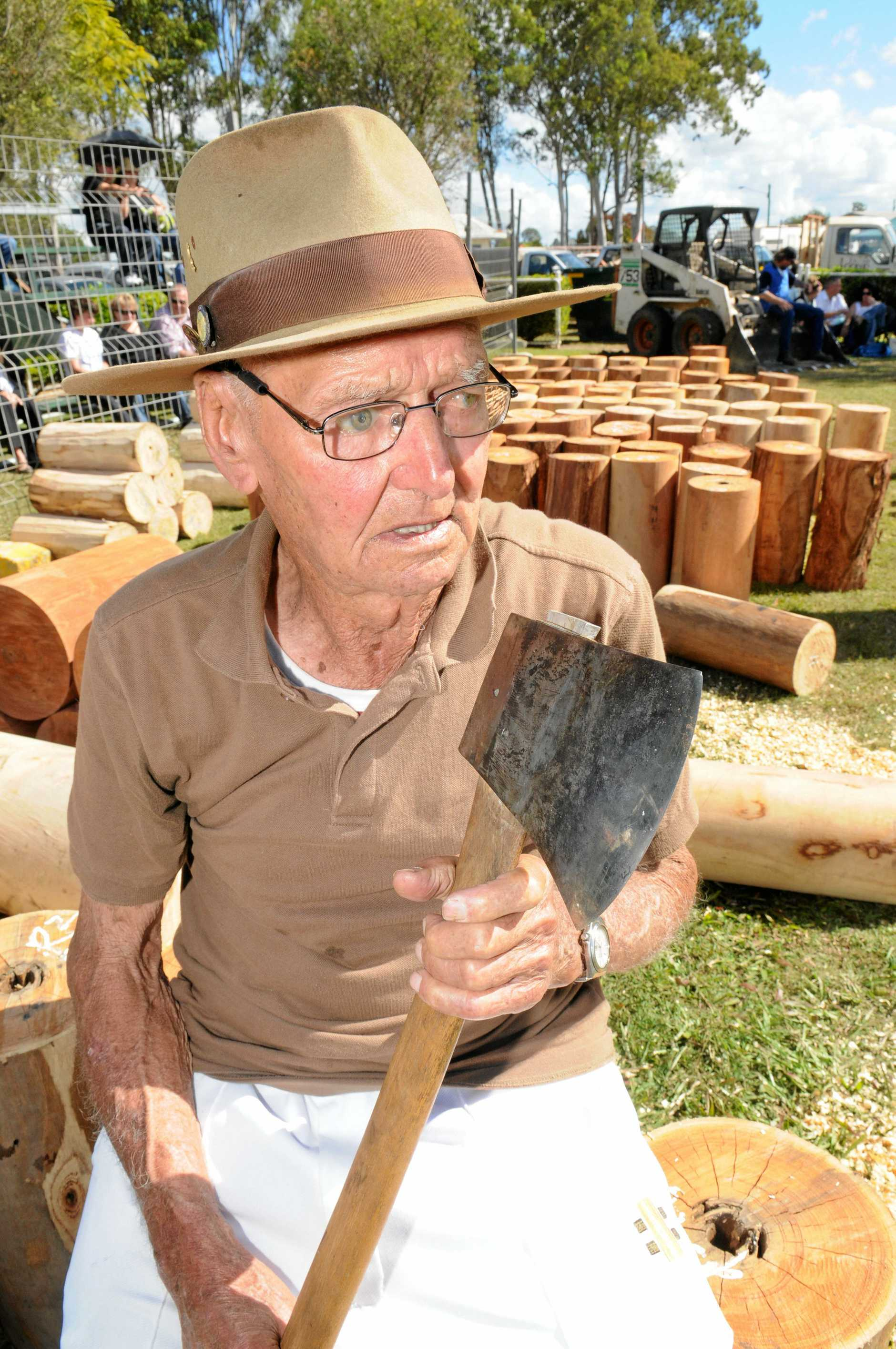 NO RETIREMENT: 93 year old Vic Summers is back woodchopping after retiring at least five times.