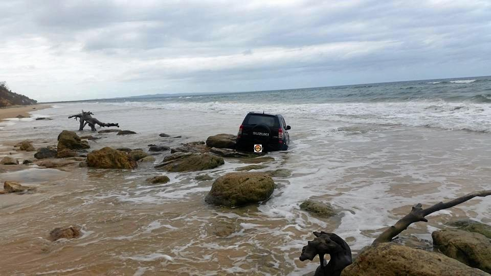 BOGGED: A Suzuki became bogged at Mudlo Rocks on Tuesday afternoon.