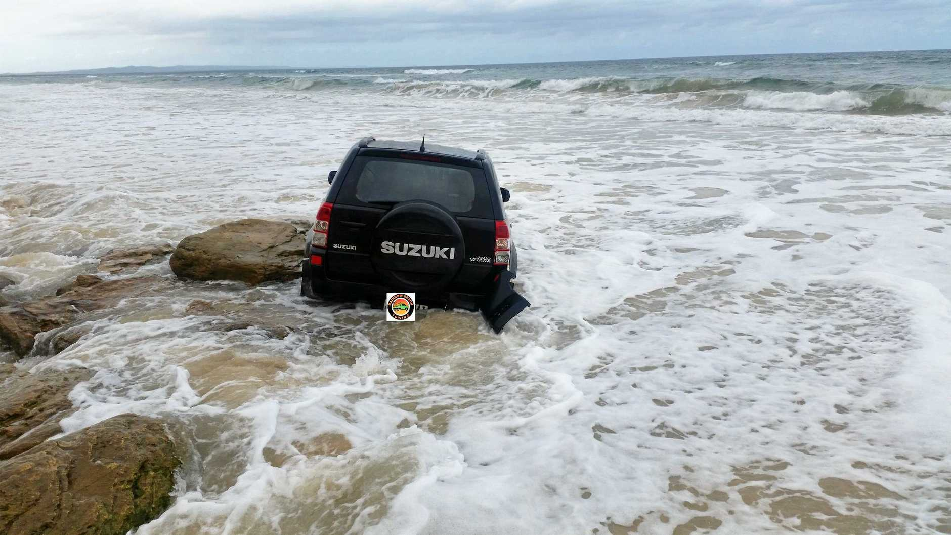 BOGGED: A Suzuki became bogged at Mudlo Rocks yesterday afternoon.