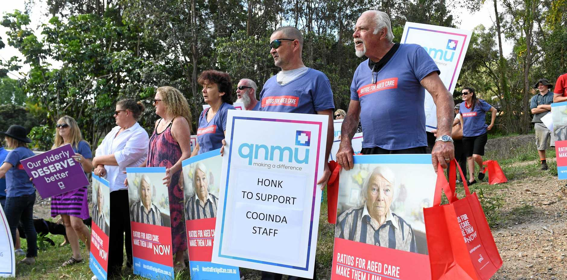 Cooinda nurses and carers rally for better conditions.