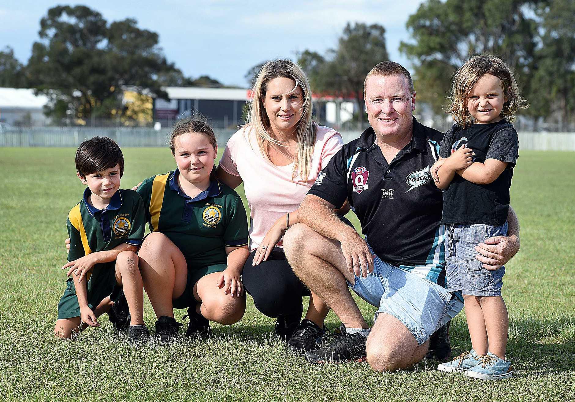 New Bay Power coach Kristian Walton with wife Amanda and children Cody,7, Jayla,9, and Torey,4.