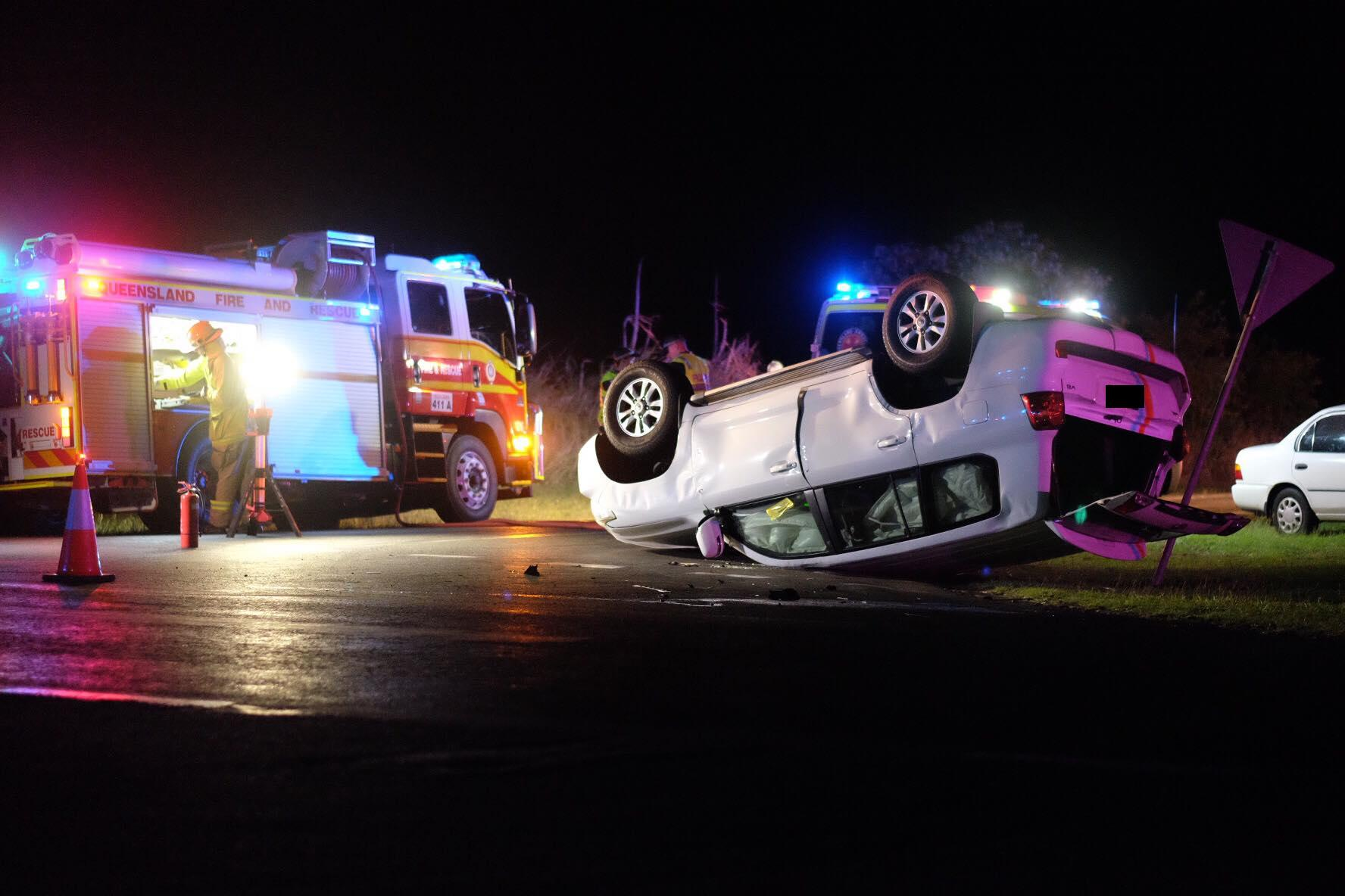 FRIGHT NIGHT: One of the vehicles in a two-car crash at Bargara tonight ended up on its roof.