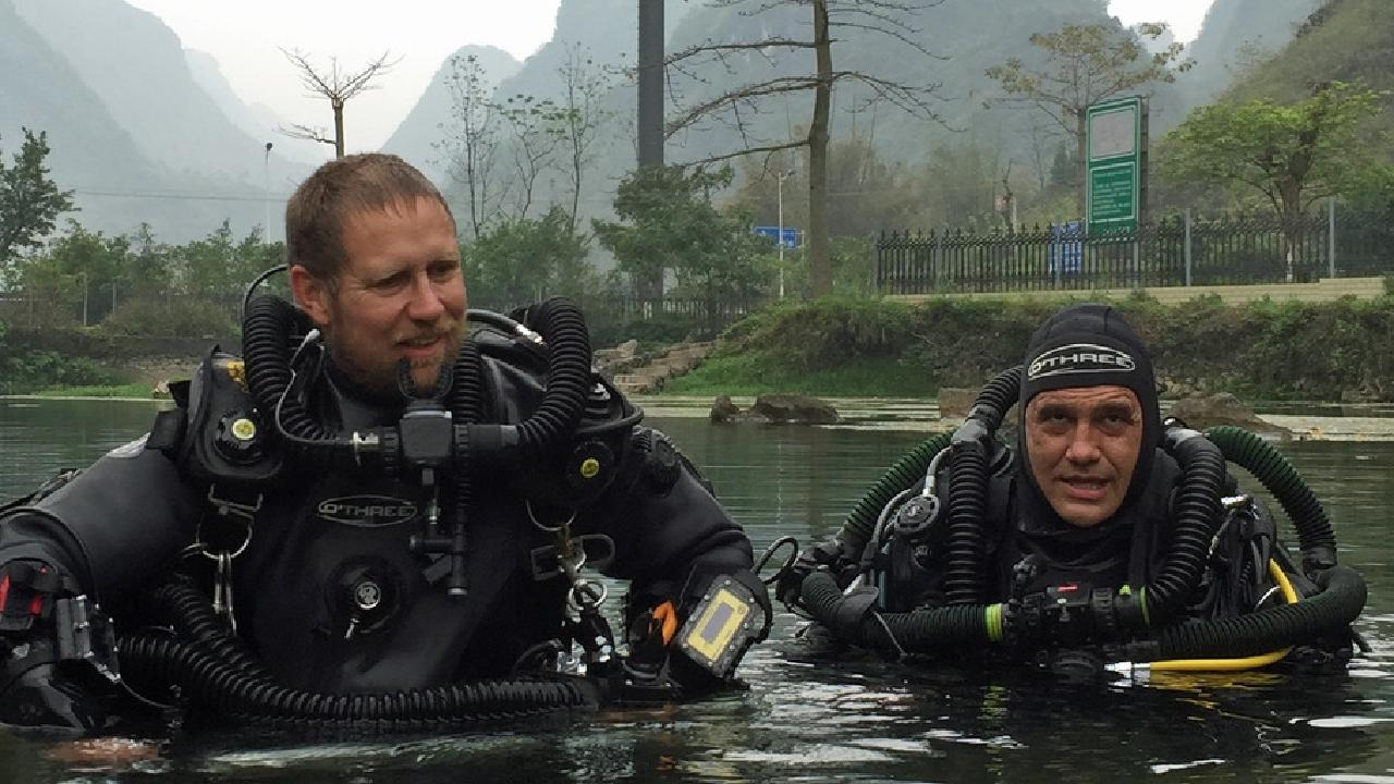 Cave diving expert Craig Challen (R) with his Adelaide diving partner Richard Harris. Challen and Harris were crucial to the rescue operation in Thailand. Picture: Supplied