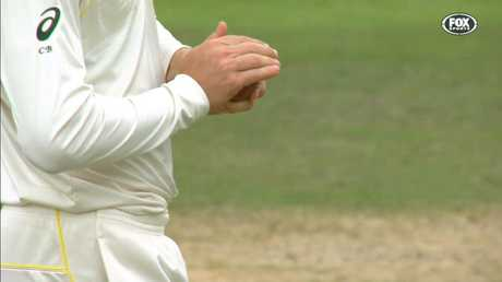 Cameron Bancroft caught roughing the ball in Cape Town.