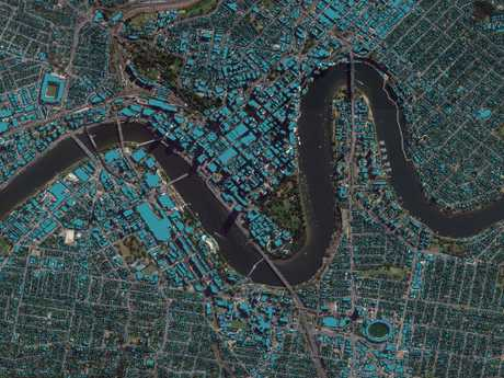 This map shows buildings elevations in Brisbane's CBD.