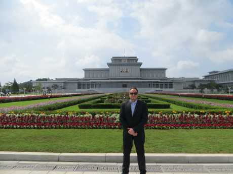Outside Kumsusan Palace of the Sun in the super secretive North Korea.