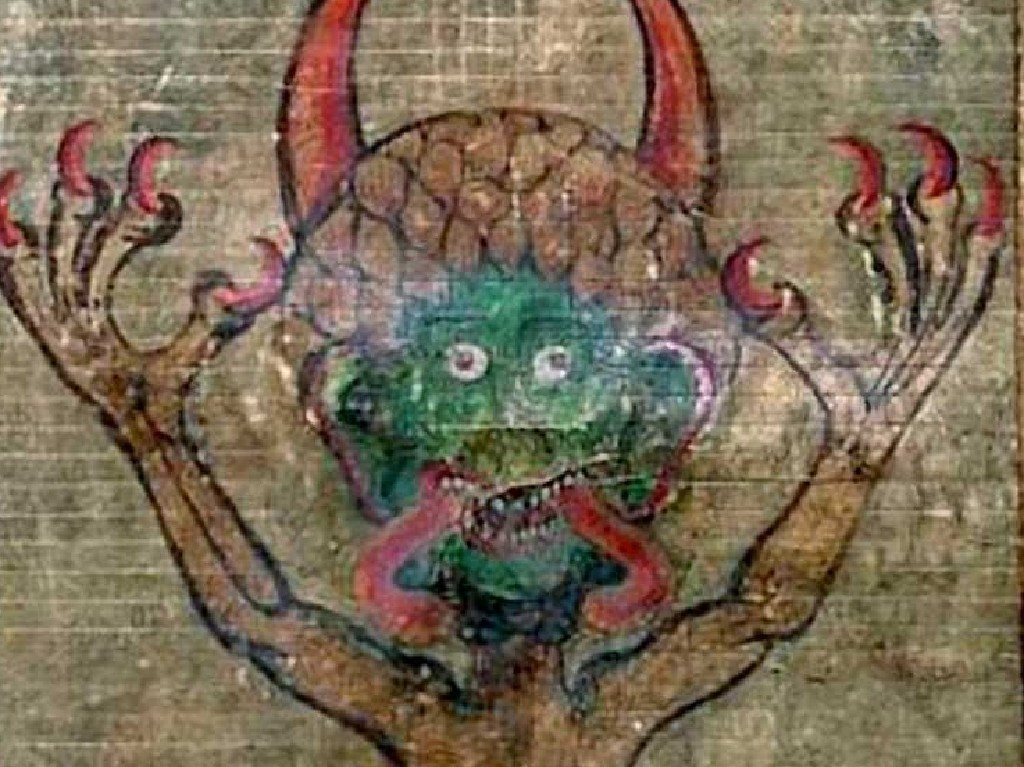 A medieval monster from the cover of the Codex Gigas — the Devil's Bible.