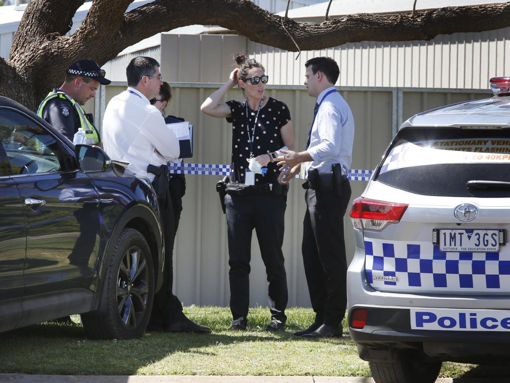 Police and emergency services on scene at a shooting in Red Cliffs. Picture: David Caird