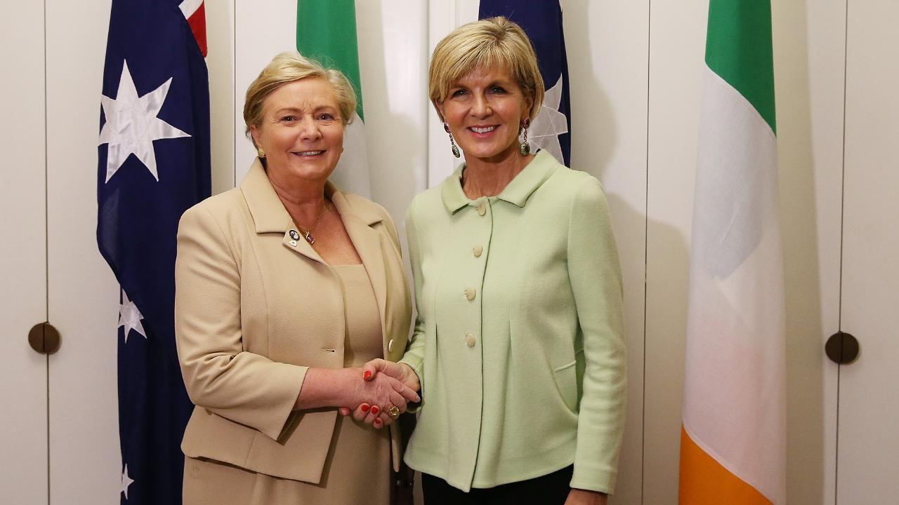 Julie Bishop with Deputy Prime Minister of Ireland Frances Fitzgerald at a meeting in Canberra.