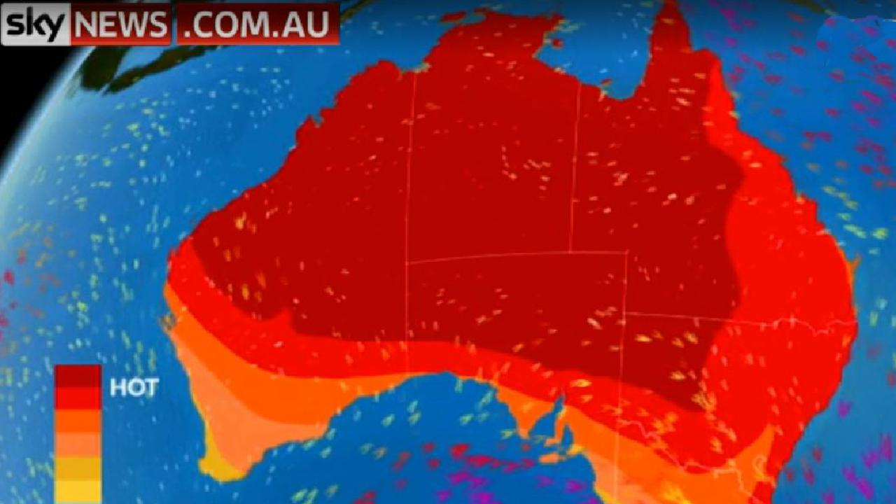 A mass of hot air from central Australia is sweeping towards Adelaide, Melbourne and Sydney. Picture: Sky News