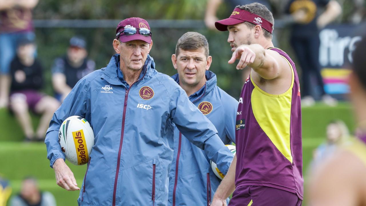 Brisbane Broncos coach Wayne Bennett with Jason Demetriou and Corey Oates.