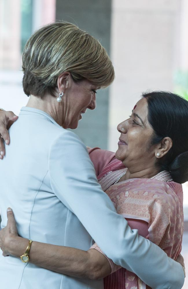 Julie Bishop forged strong relationships with fellow female foreign ministers, including India's Sushma Swaraj. Picture: by Graham Crouch