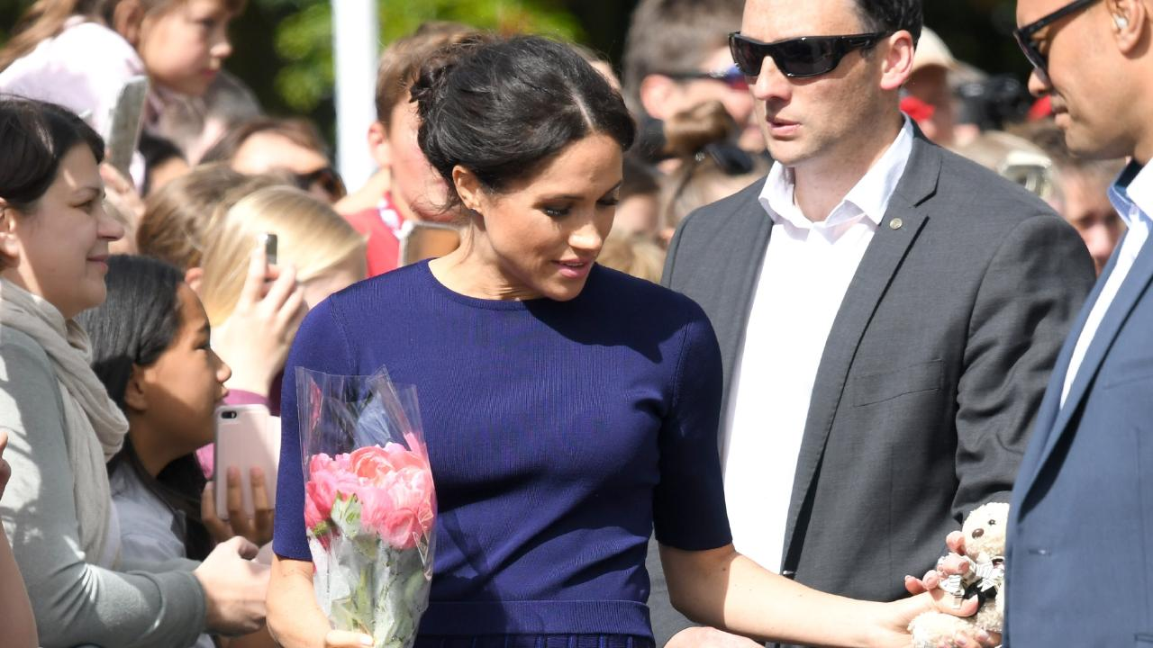 Wardrobe malfunction or daring display? Meghan Markle pressed the flesh on the final afternoon of the royal tour — with her undies showing.