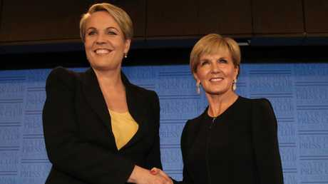 Then Foreign Minister Julie Bishop and her shadow counterpart Tanya Plibersek at the National Press Club in Canberra. Picture: Ray Strange.
