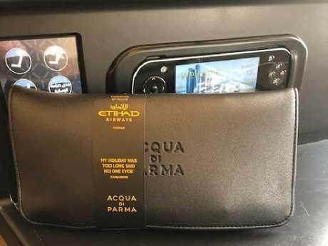 Etihad's new Aqua di Parma amenity kits.