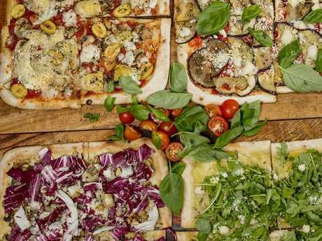 The LC Miami. Assorted vegan pizzas from Gigi. Picture: Jerad Williams