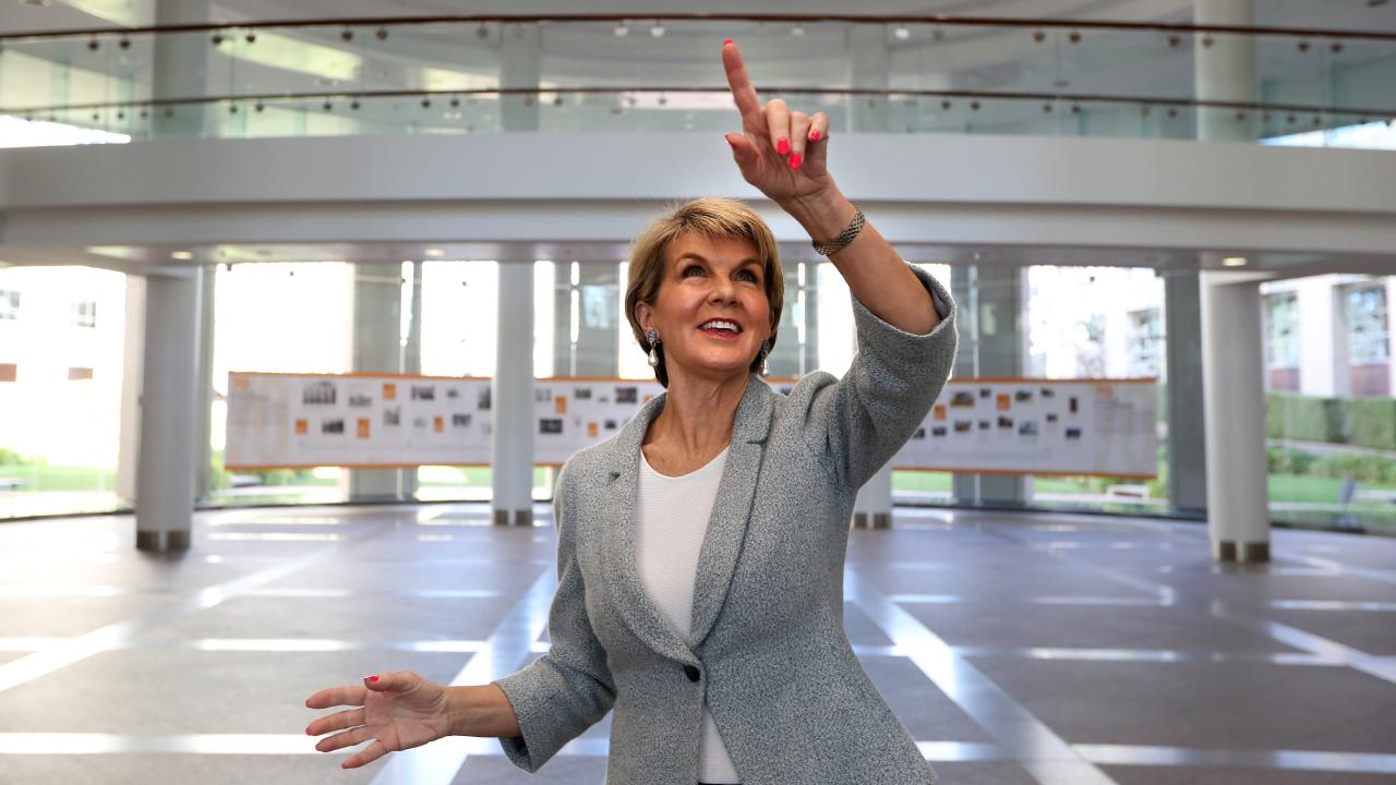 Julie Bishop pictured departing the Department of Foreign Affairs and Trade building in Canberra. Picture: Kym Smith
