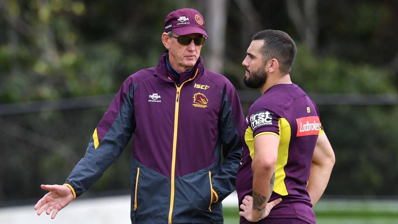 Brisbane Broncos coach Wayne Bennett speaks to Jack Bird. Picture: AAP