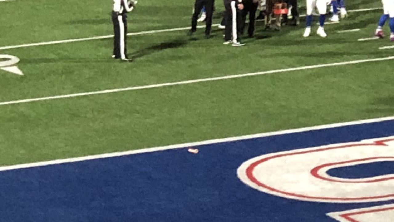 Buffalo Bills fan throws sex object onto field in game vs Patriots.