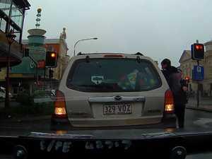 Toowoomba CBD police car ram