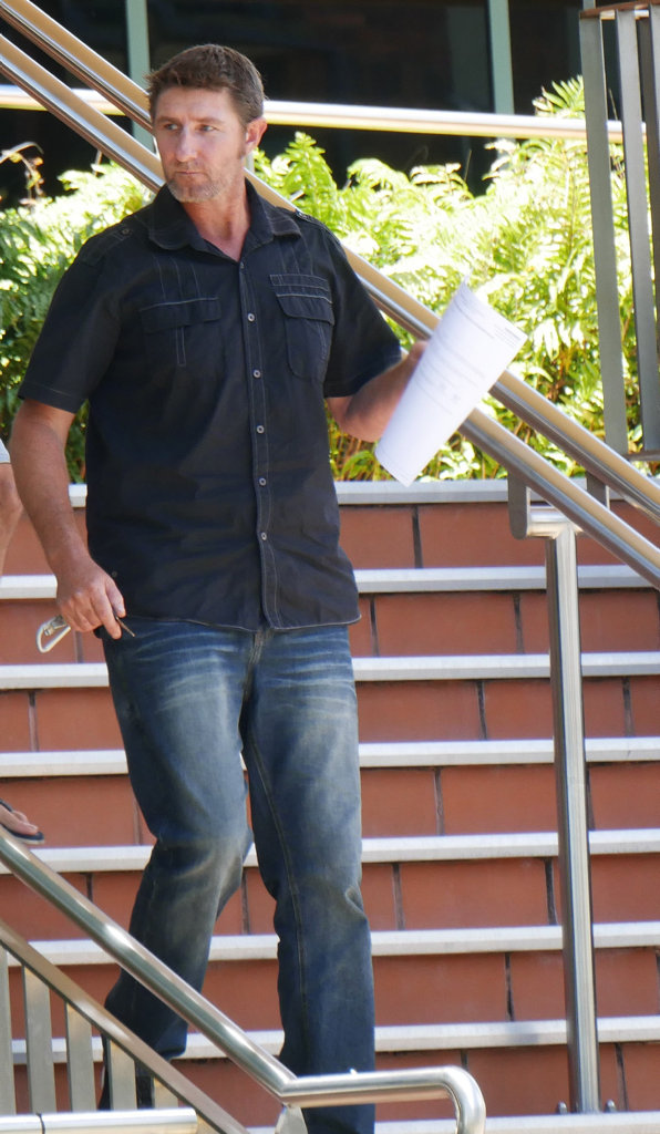 Notorious prank caller Scott Craig Handley, 42, leaves Hervey Bay Magistrates Court.