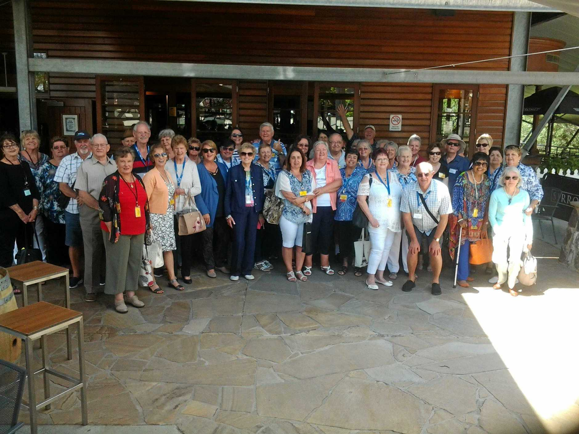 CHEERS AND SMILES: Some of the Forest Lake Fifty Plus Club members on a recent outing to the Sirromet Winery.